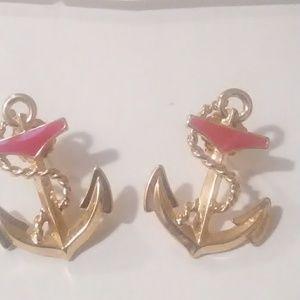 Avon anchor pierced earrings